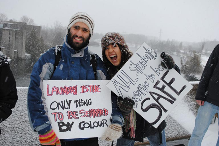 Winter protest by students at Trent University in Peterborough, Ontario