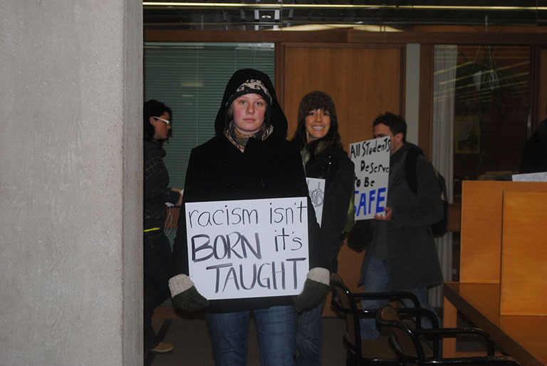Protest by students at Trent University in Peterborough, Ontario