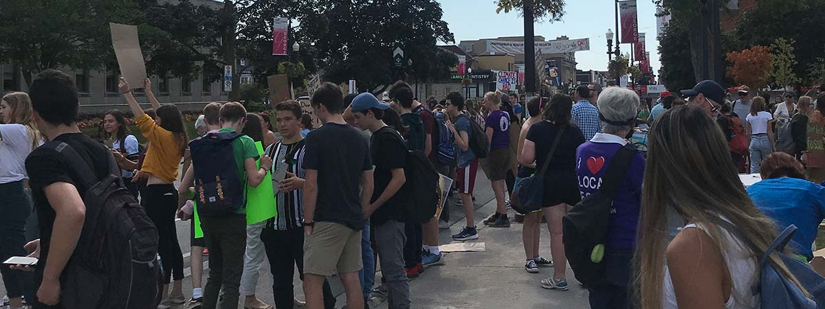 Student protect at City Hall in downtown Peterborough, Ontario