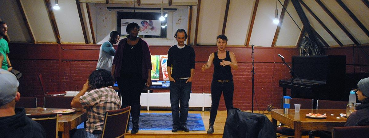 Live performance at an OPIRG event, Sadleir House, Peterborough, Ontario