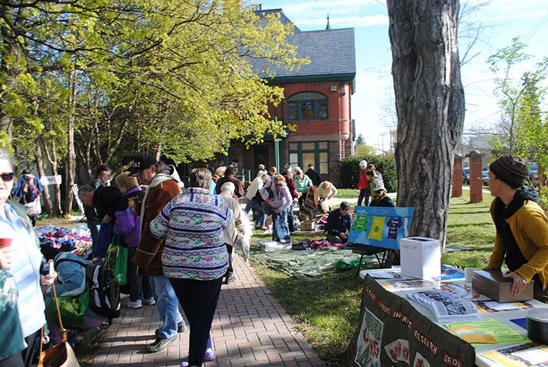 Community members participating in The Free Market at Sadleir House, Peterborough Ontario