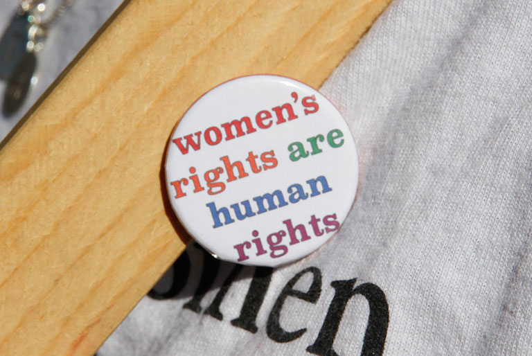 Button with the message: women's rights are human rights