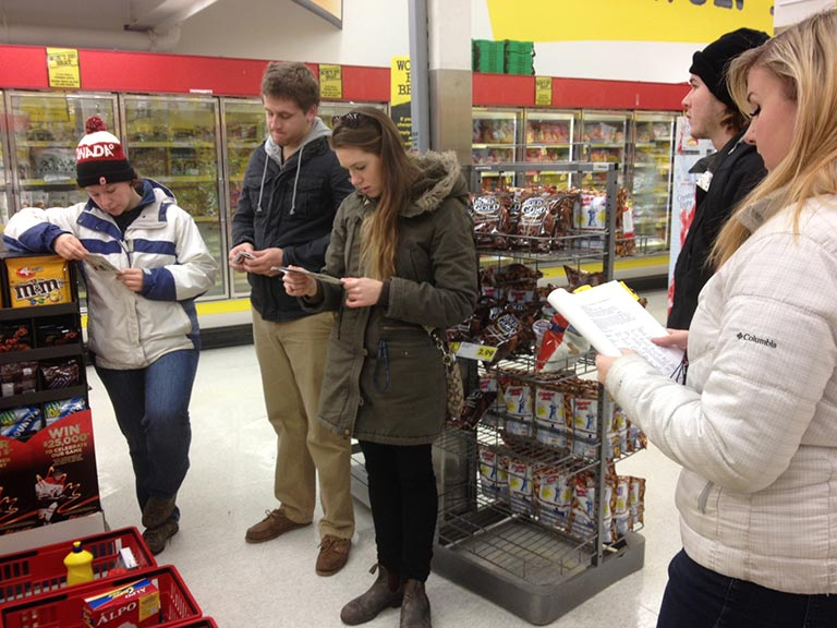 What is public interest research? A group of students taking part in a Supermarket Tour looking at a range of issues related to food and food security